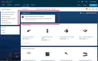 New ARIBA feature: Catalog Home Page Custom Content