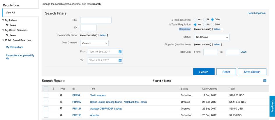 SAP Ariba Team Aanvragen